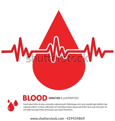World Blood Donor big blood drop with ecg. world blood donor awareness concept - stock vector