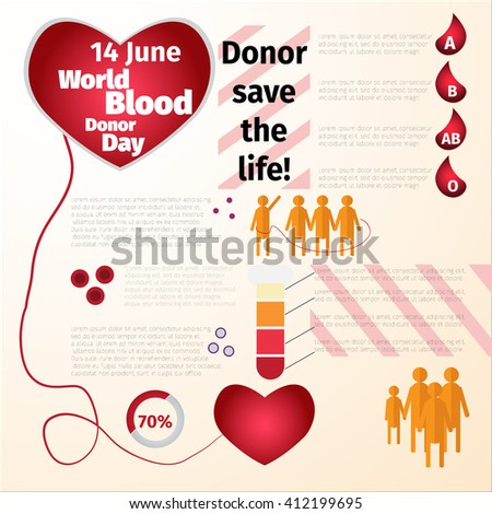 World blood donor day 14 June. Illustration vector infographics. Blood donator. Concept with hearts. Medical Design elements. - stock vector