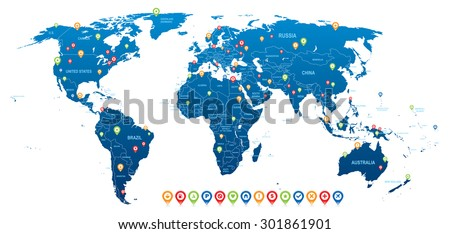 World Blue Map with Navigation Icons - stock vector
