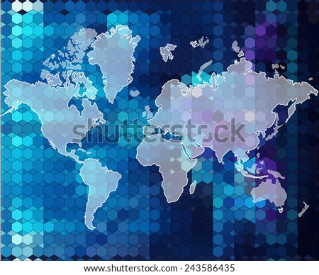 World bright blue map background in geometric style
