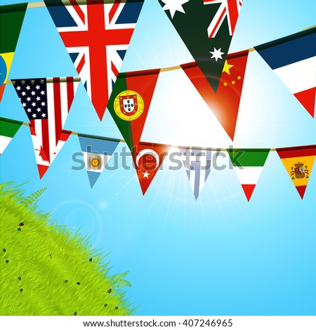 World Bunting Flags Over Sunny Blue Sky and Green Hill with Lens Flares