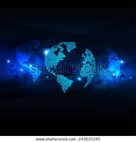 World business communication and technology futuristic background, vector illustrator