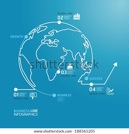 world business diagram line style  template  / can be used for infographics / horizontal cutout lines / graphic or website layout vector - stock vector