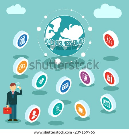 World Business Finances. Businessman talking on the phone. Conceptual and financial business three-dimensional icons. Vector illustration - stock vector