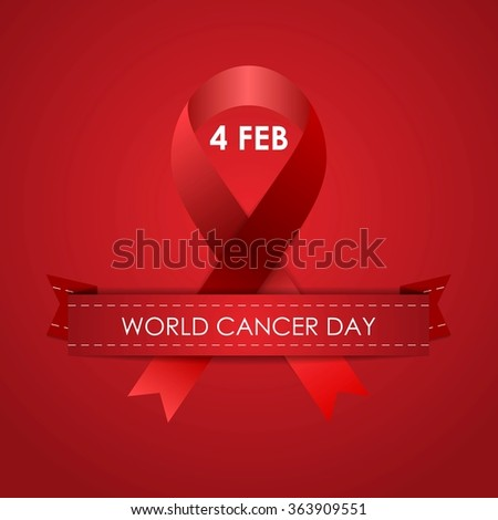 World Cancer Day red background with ribbon. Vector graphic design - stock vector