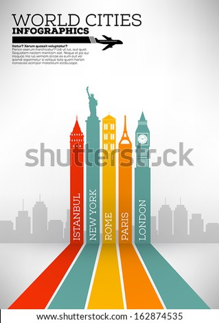World Cities Infographic Design - stock vector