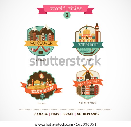 World Cities labels and icons - Amsterdam, Venice, Jerusalem, Vancouver  - stock vector