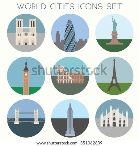 World Cities landmarks & symbols - Icons Set - Vector EPS10 - stock vector