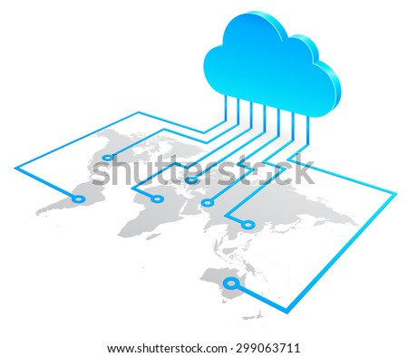World cloud computing concept, high quality vector illustration. - stock vector
