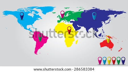 World color continents map pins stock vector 286583384 shutterstock world color continents map with pins gumiabroncs Images