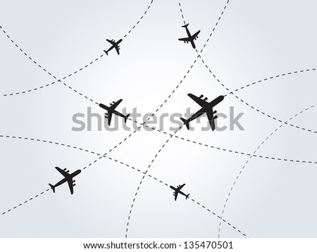 World communication. Airplanes on gray background. Vector illustration. - stock vector