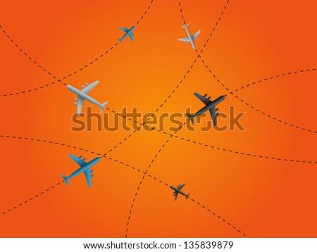World communication on orange background. Vector illustration. - stock vector
