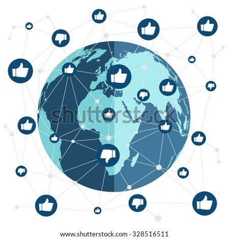 World connection with like and dislike - stock vector