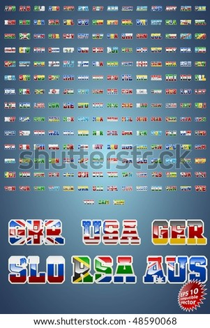 World countries abbreviations with flag inserts EPS10 compatible vector - stock vector
