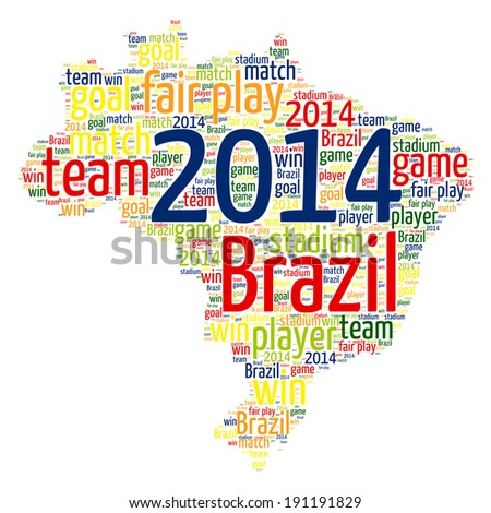 World Cup Brazil 2014 Map Word Cloud - stock vector