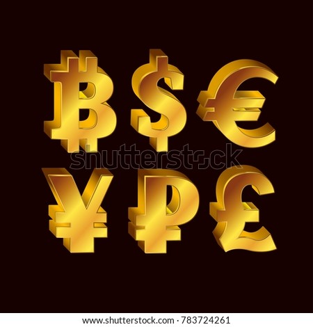 World Currency 3 D Golden Symbols Set Stock Vector 783724261