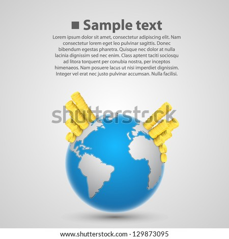 World currency earth - stock vector