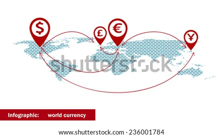 World currency symbols arrow on dotted stock vector 236001784 world currency symbols arrow on the dotted world map vector illustration gumiabroncs Image collections