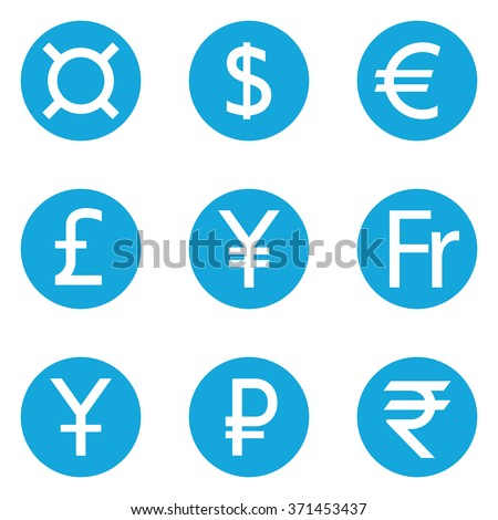 World Currency Symbols Flat Solid Icons Stock Vector 371453437