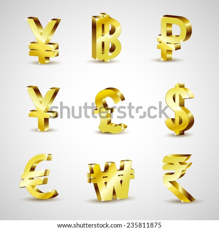 World 3d gold world currency isolated on white background, vector illustration - stock vector