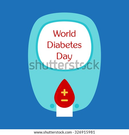 World Diabetes Day. Glucose meter. Blood drop. Symbol of diabetic and fight against diabetes. Medical flat illustration. Health care - stock vector