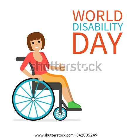 World Disability Day. Disabled young woman in wheelchair smiling and showing thumb up. Flat vector character in isolated background. Concept for International Day of people with disability. - stock vector