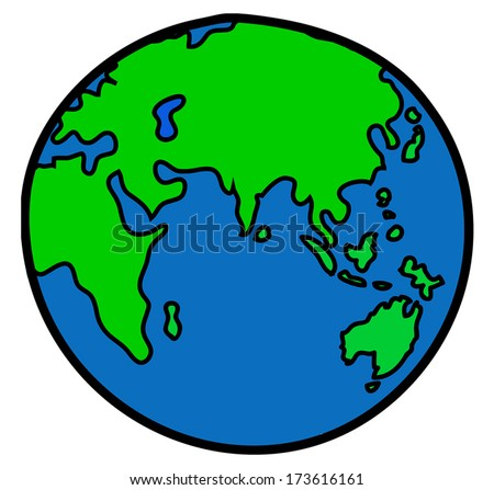 World Cartoon Drawing World Drawing Vector Stock