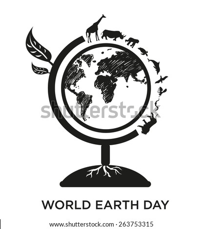 World Earth Day Celebration on April 22 Poster design template. Silhouette version of  a Globe made of a tree and with walking animals around the world illustration. - stock vector