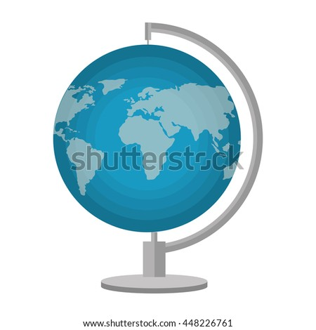 World earth map isolated flat icon, vector illustration design. - stock vector