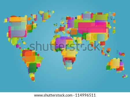 World ecology map made of colorful speech bubbles concept illustration background vector - stock vector