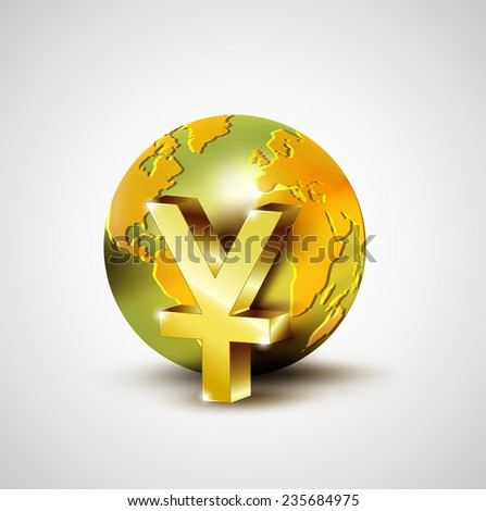 World economic concept with 3d gold world and Yuan currency isolated on white background, vector illustration - stock vector