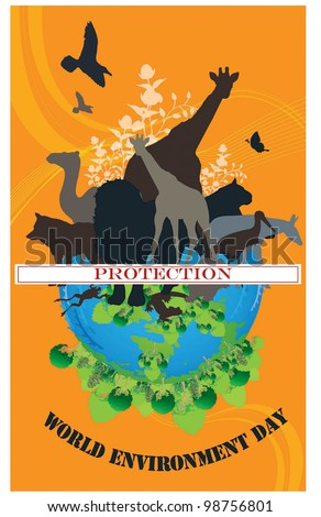 World Environment Day - black animals on beautiful blue ECO EARTH on orange background : vector illustration - stock vector