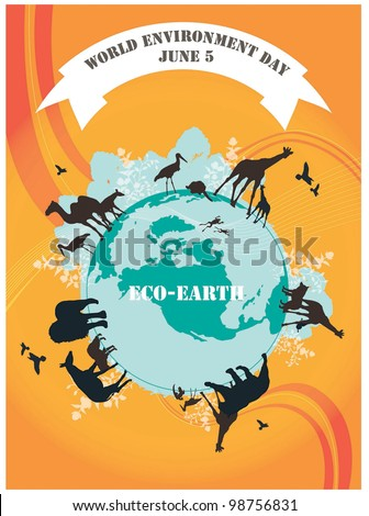 World Environment Day - black animals on beautiful blue ECO EARTH on orange background : vector illustration - stock vector