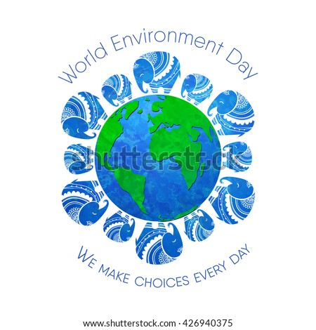 World environment day. Concept design for banner,  print, poster, greeting card. Vector illustration. Elephant Protection Day. Save, Protect the planet African elephants, the elephants of India.  - stock vector