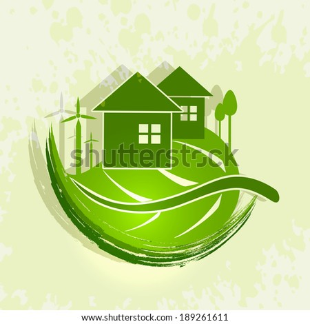 World Environment Day concept with illustration of green house on a leaf on grungy green background.  - stock vector