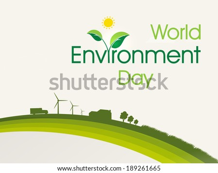 World Environment Day concept with illustration of urban city background, can be use as flyer, banner or poster.  - stock vector