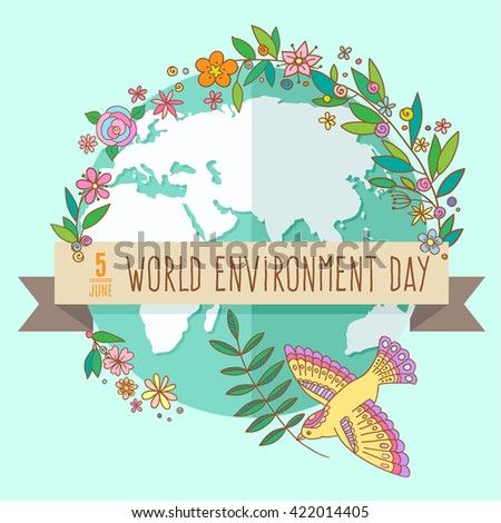 World environment day concept with mother earth globe and green leaves and flowers on  mint background. With an inscription Save the Planet, 5 June. Vector Illustration. - stock vector