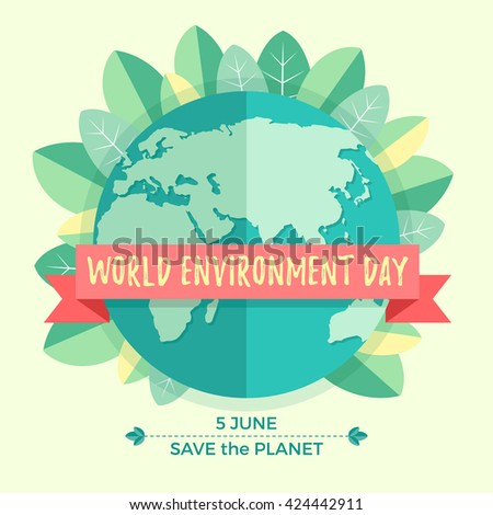 World environment day concept with mother earth globe and green leaves on beige background. With an inscription Save the Planet, 5 June. Vector Illustration - stock vector