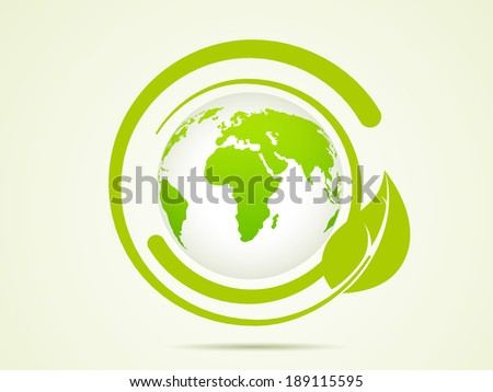 World Environment Day concept with stylish world map and green leaves on abstract background.  - stock vector