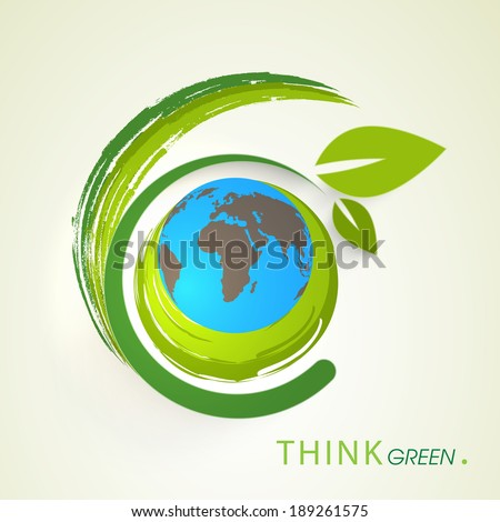 World Environment Day concept with world earth globe and beautiful green leaves on abstract background.  - stock vector