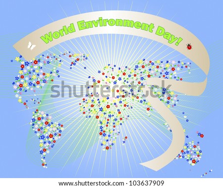 World environment day cute map of the world of flowers and