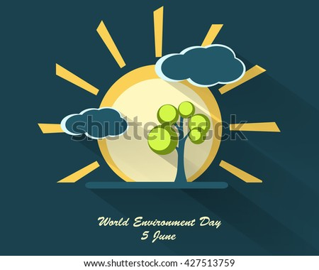 world environment day design with long shadows. Vector sighs, elements for your design. Sun, clouds, tree  vector elements. Eps10 - stock vector