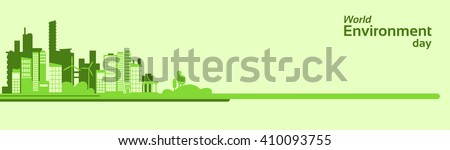 World Environment Day Green Silhouette City Eco Banner Flat Vector Illustration - stock vector