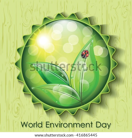 World environment day sign on green background. Vector illustration.