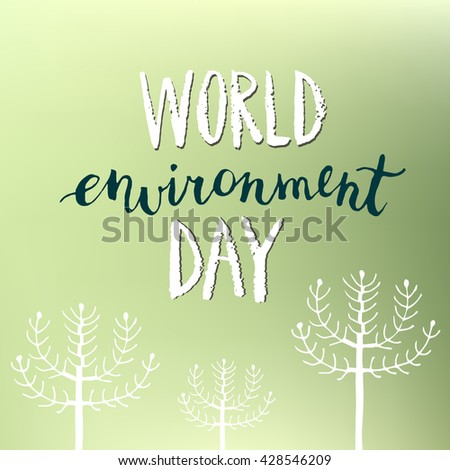 World environment day vector background with hand drawn trees.  - stock vector