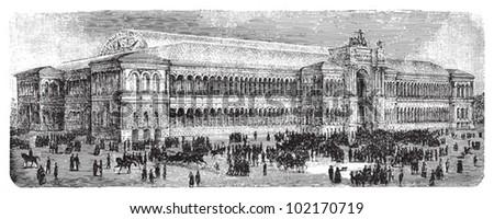 World exhibition building in Paris 1855 - Industry palace / vintage illustration from Brockhaus Konversations-Lexikon 1908 - stock vector