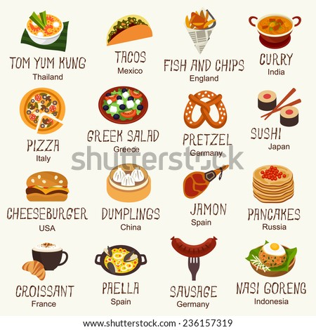 World famous food - stock vector