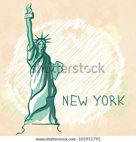 World famous landmark series: Statue of Liberty, New York, USA - stock vector