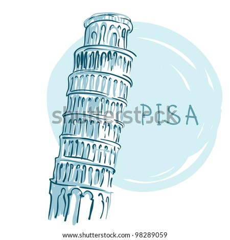 World famous landmark series: The Leaning Tower, Pisa, Italy, Europe - stock vector