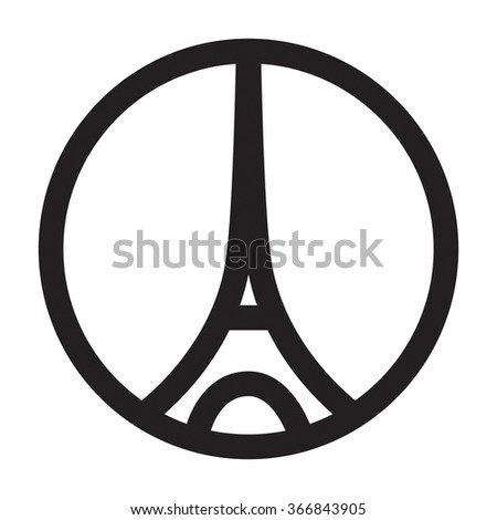 World famous landmark symbol of Paris, France. Logo Eiffel tower illustration - stock vector